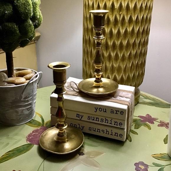 Vintage Other - Set 2 Vintage Brass Candlesticks Boho Romantic